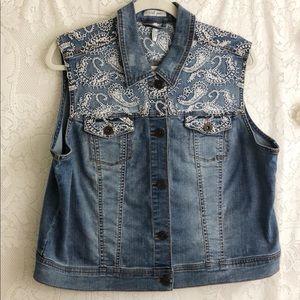 Tribal jeans denim embroidered vest sz XL